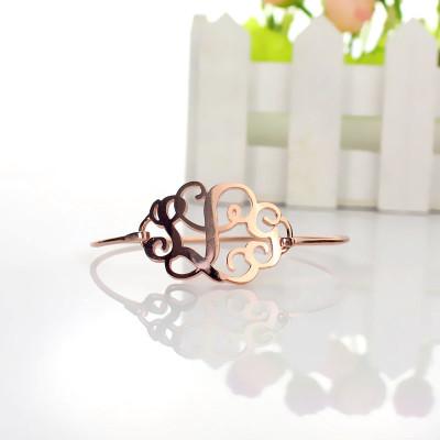 Rose Gold Monogram Initial Bangle Bracelet 1.25 Inch - The Name Jewellery™