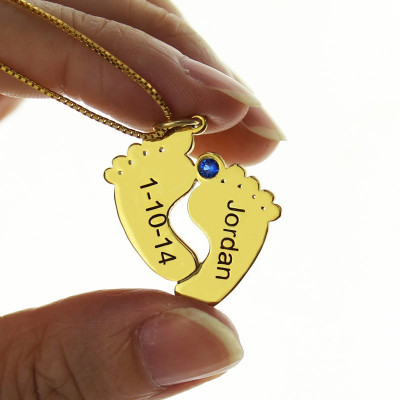 Birthstone Memory Baby Feet Charms with Date  Name 18ct Gold Plated - The Name Jewellery™