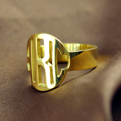 Personalised Circle Block Monogram 3 Initials Ring Solid Gold Ring - The Name Jewellery™