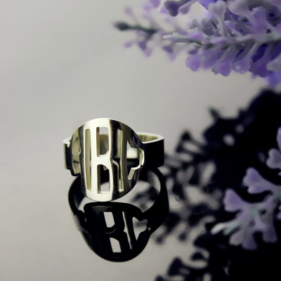 Circle Block Monogram 3 Initials Ring Solid White Gold Ring - The Name Jewellery™