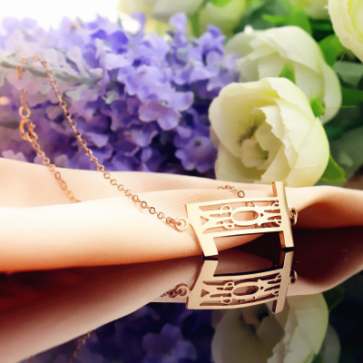 Personal Rose Gold Plated 925 Silver 3 Initials Monogram Bracelet/Anklet - The Name Jewellery™