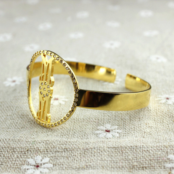Personal Gold Plated Silver Monogram Circle Bracelet With Birthstone - The Name Jewellery™