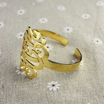 Monogram Cuff Bracelet Hand Write 18ct Gold Plated - The Name Jewellery™