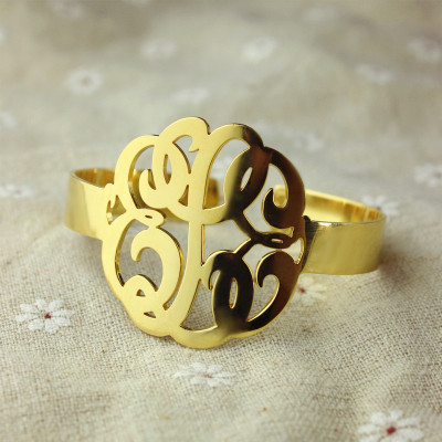 Hand Drawing Monogram Initial Bracelet 1.6 Inch Gold Plated - The Name Jewellery™