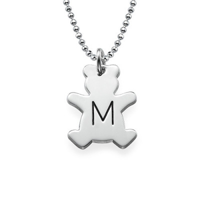 Teddy Bear Necklace with Initial in Silver - The Name Jewellery™