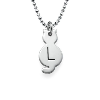 Tiny Cat Necklace with Initial in Sterling Silver - The Name Jewellery™