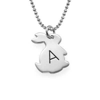 Tiny Rabbit Necklace with Initial in Silver - The Name Jewellery™