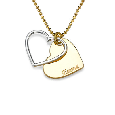 Personalised Two Tone Heart Necklace for Couples - The Name Jewellery™