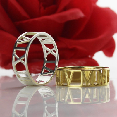 Custom Sterling Silver Roman Numerals Ring - The Name Jewellery™