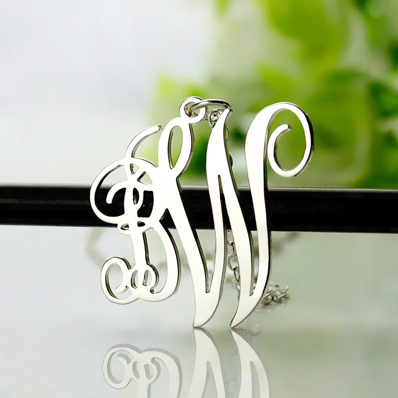 2f12bd1a2bbd6 Personalised Vine Font 2 Initial Monogram Necklace Solid White Gold