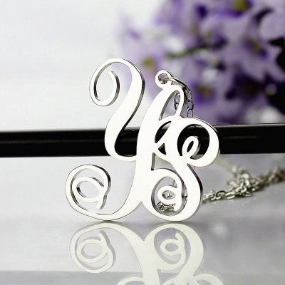 Personalised Solid White Gold Vine Font 2 Initial Monogram Necklace - The Name Jewellery™