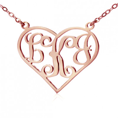 18ct Rose Gold Plated Initial Monogram Personalised Heart Necklace - The Name Jewellery™