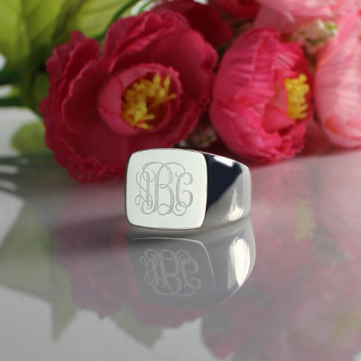 Engraved Square Designs Monogram Ring Sterling Silver - The Name Jewellery™