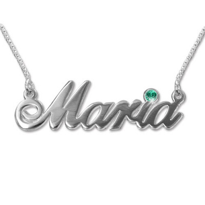 18ct white Gold and Swarovski Crystal Name Necklace - The Name Jewellery™