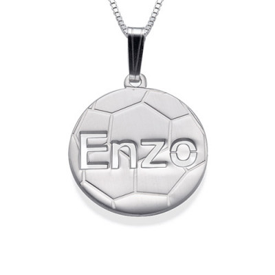 Sterling Silver Personlised Football Pendant - The Name Jewellery™