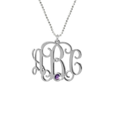 Sterling Silver Monogram Necklace with Swarovski - The Name Jewellery™