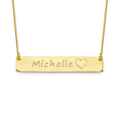 18ct Gold Plated Icon Bar Necklace - The Name Jewellery™