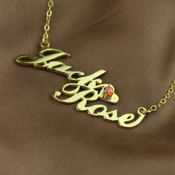 Gold Double Nameplate Necklace Carrie Style - The Name Jewellery™