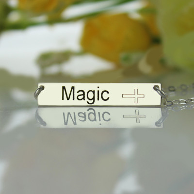 Nameplate Bar Necklace with Icons Sterling Silver - The Name Jewellery™