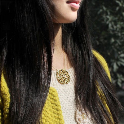 Celebrity Cube Premium Monogram Necklace Gifts 18ct Gold Plated - The Name Jewellery™