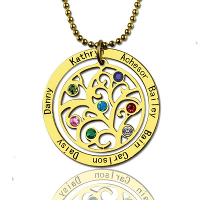 Family Tree Birthstone Necklace In 18ct Gold Plated - The Name Jewellery™