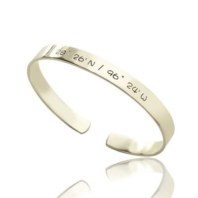 Personalised Latitude Longitude Coordinate Cuff Bangle Bracelet - The Name Jewellery™