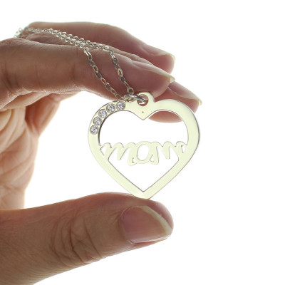 Mothers Birthstone Heart Necklace Sterling Silver - The Name Jewellery™