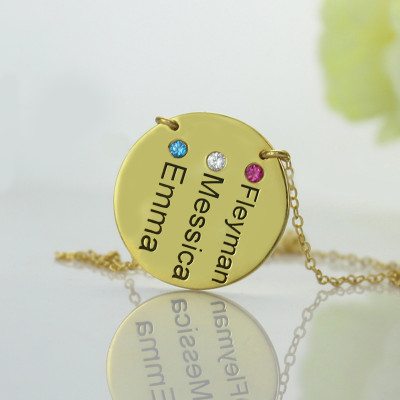 Disc Birthstone Family Names Necklace in 18ct Gold Plated - The Name Jewellery™