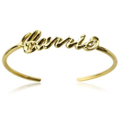 Personalised 18ct Gold Plated Name Bangle Bracelet - The Name Jewellery™