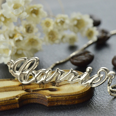 Personalised 3D Carrie Name Necklace Sterling Silver - The Name Jewellery™