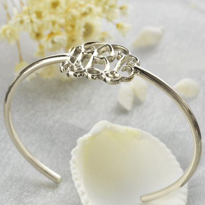 Celebrity Monogrammed Initial Bangle Bracelet Sterling Silver - The Name Jewellery™