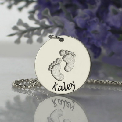 Memory Baby Footprints Name Necklace Sterling Silver - The Name Jewellery™