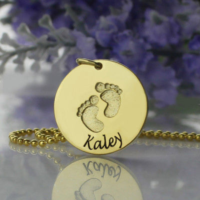 Personalised Baby Footprints Name Necklace 18ct Gold Plated - The Name Jewellery™