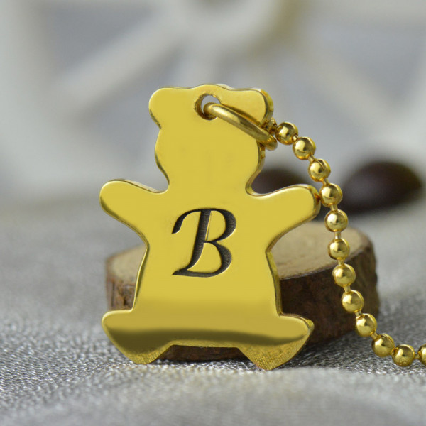 Cute Teddy Bear Initial Charm Necklace 18ct Gold Plated - The Name Jewellery™