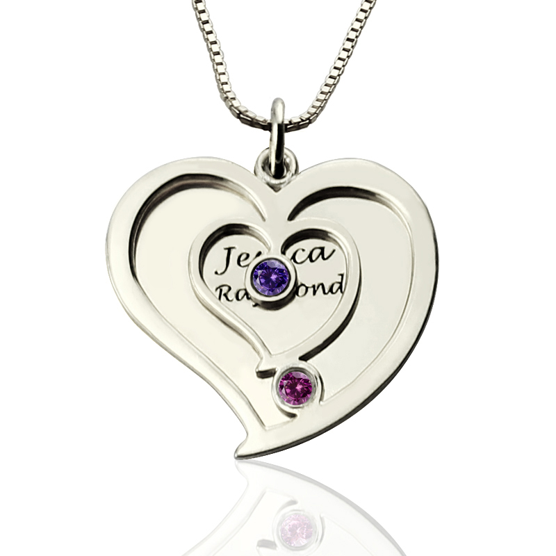 578374e559 Personalised Couples Birthstone Heart Name Necklace - The Name Jewellery™