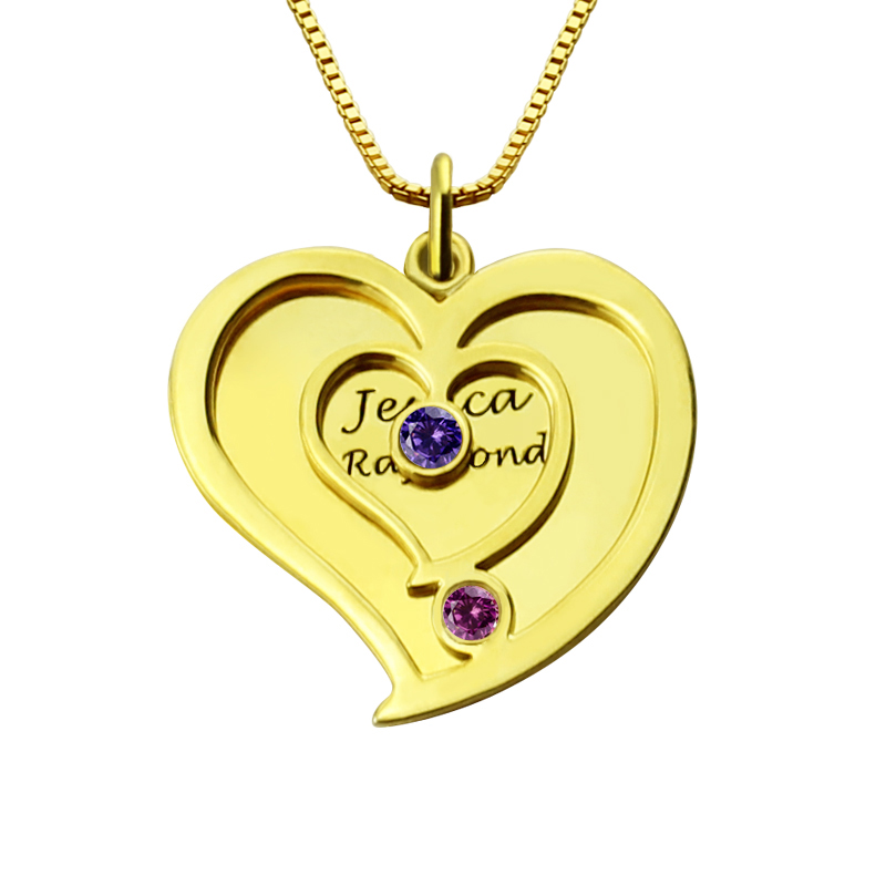 13a484a75eebe His Her Birthstone Heart Name Necklace Gold Plated