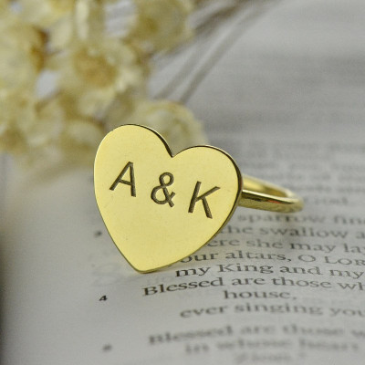 Engraved Sweetheart Ring with Double Initials 18ct Gold Plated - The Name Jewellery™
