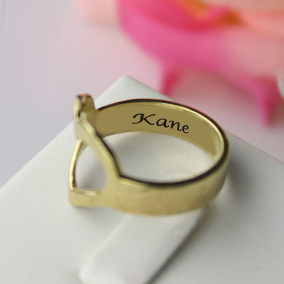 Custom Heart Couple's Promise Ring With Name Gold Plated Silver - The Name Jewellery™
