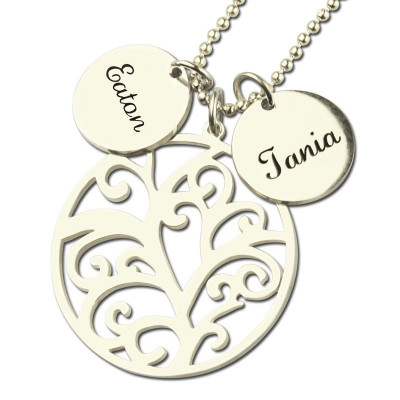 Family Tree Necklace with Custom Name Charm Silver - The Name Jewellery™
