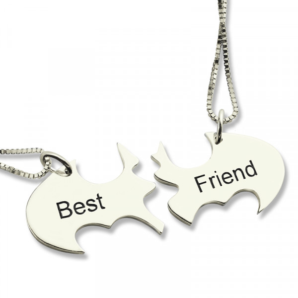Batman Best Friend Name Necklace Sterling Silver - The Name Jewellery™