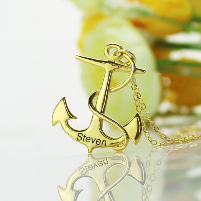 Anchor Necklace Charms Engraved Your Name 18ct Gold Plated Silver - The Name Jewellery™