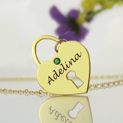 I Love You Heart Lock Keepsake Necklace With Name 18ct Gold Plated - The Name Jewellery™