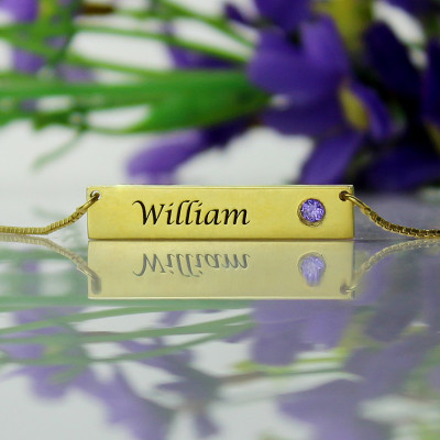 Name Bar Necklace with Birthstone 18ct Gold Plated - The Name Jewellery™