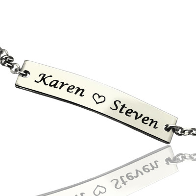 Engraved Name Bar Bracelet For Her Sterling Silver - The Name Jewellery™
