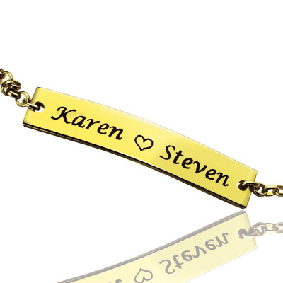 Couple Bar Bracelet Engraved Name 18ct Gold Plated - The Name Jewellery™