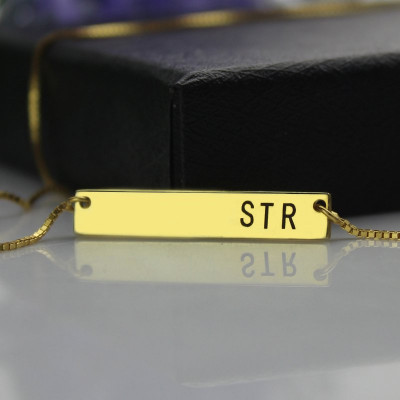Personalised Initial Bar Necklace 18ct Gold Plated - The Name Jewellery™