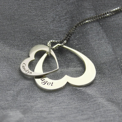 Double Heart Pendant With Names For Her Sterling Silver - The Name Jewellery™