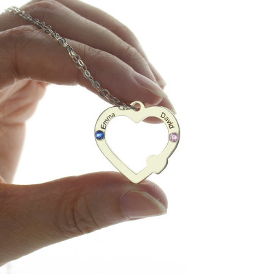 Double Name Open Heart Necklace with Birthstone Sterling Silver - The Name Jewellery™