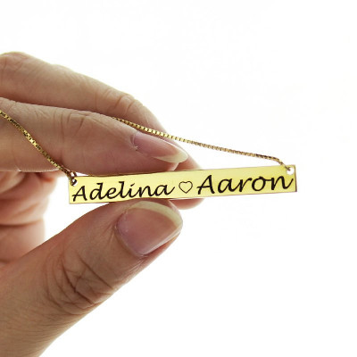 Gold Bar Necklace Engraved Double Name - The Name Jewellery™