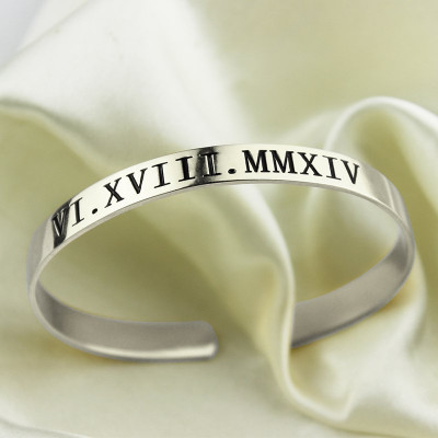 Personalised Roman Numeral Date Cuff Bracelet Sterling Silver - The Name Jewellery™